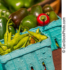 Hot Peppers in Market