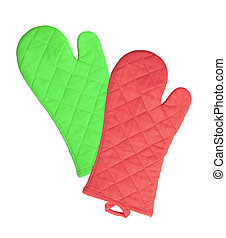 Green and red kitchen gloves