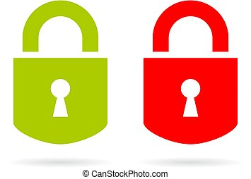 Green and red padlock vector icon