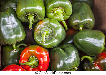 green and red Pepper on red background