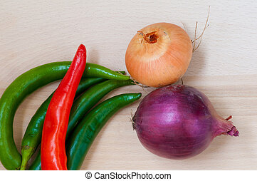 Green and red pepper, onion