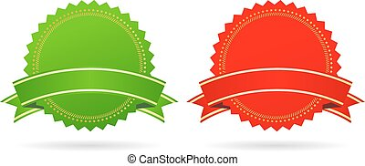 Green and red star medallions