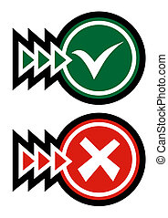 Green and red symbol