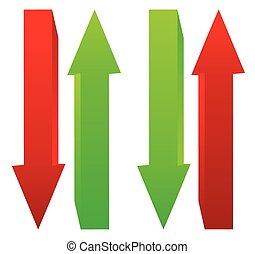 Green and red, up and down arrow. Vector.