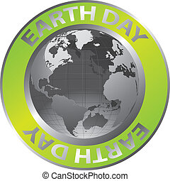 earth day - green and silver earth day circle isolated over...