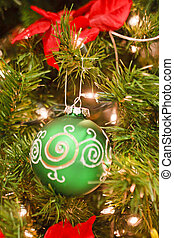 Green and Silver Ornament on Christmas Tree