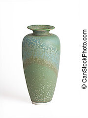 green and teal vase isolated on white - oblong green and...