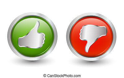 Green and thumb down red thumb up icons. 3d illustration....