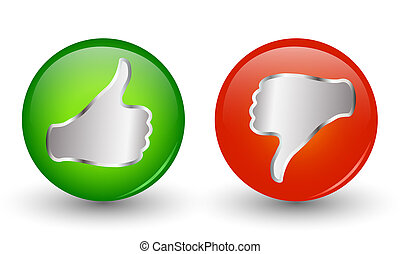 Green and thumb down red thumb up icons. Online voting...