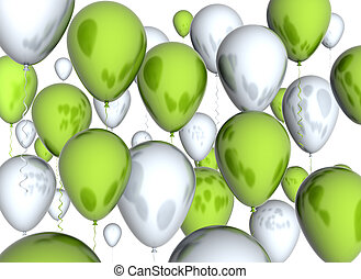 Green and white balloons