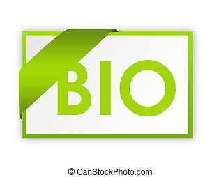 green and white bio sign with shadow over white background