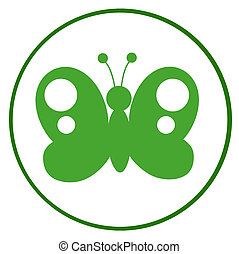 Green And White Butterfly - Green Butterfly Silhouette In...