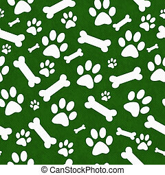 Green and White Dog Paw Prints and Bones Tile Pattern Repeat...