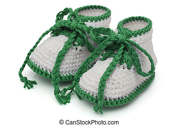 Green and White Hand-made baby booties