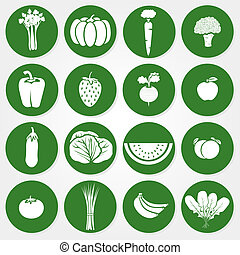 Green and white icons of vegetables