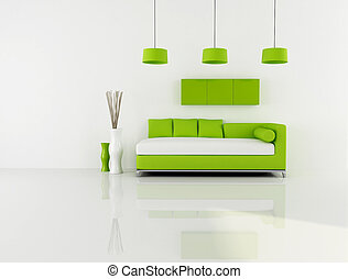 green and white living room - minimalist green and white...