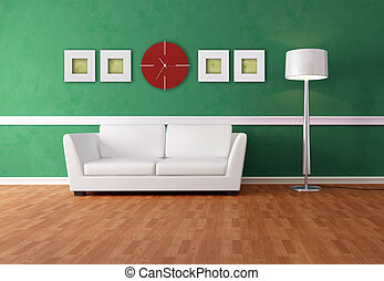 green and white lounge