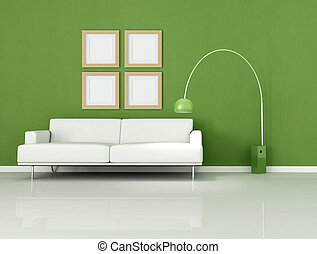 green and white minimal living-room - white sofa in a...