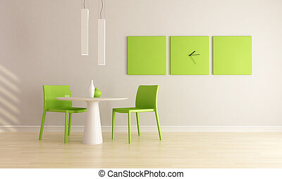 green and white minimalist dining room - rendering
