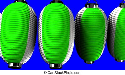 Green and white paper lanterns on blue chroma key.Loop able...