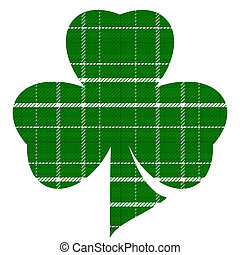 Green and White Plaid Three Leaf Clover on White Background Illustration with Clipping Path