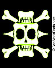 green and white skull with bones and black background