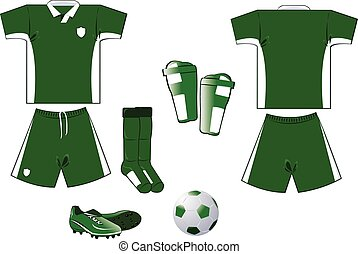 Green and white soccer equipment