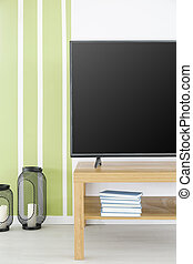 Green and white tv room