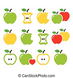 Green and yellow apple, apple core,