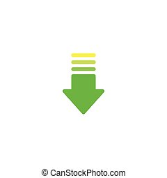 green and yellow arrow down icon. download sign. isolated on white.