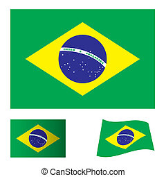 green and yellow brazil flag icon symbol as part of a set
