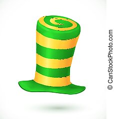 Green and yellow colors striped realistic vector carnival hat