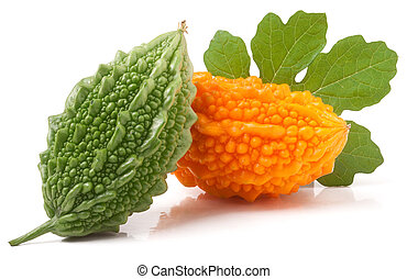 green and yellow momordica or karela isolated on white...