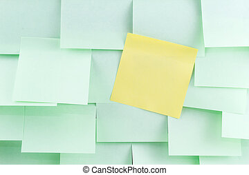 Green and yellow post-it note
