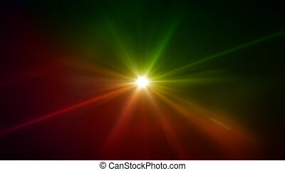 green and yellow star lens flare