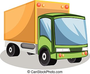 Green and yellow transporting truck vector illustration on white background.