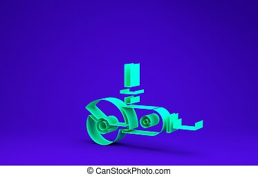 Green Angle grinder icon isolated on blue background. Minimalism concept. 3d illustration 3D render