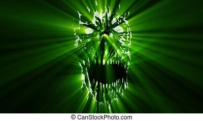 Green angry monster shabby head animation. Scary monster...