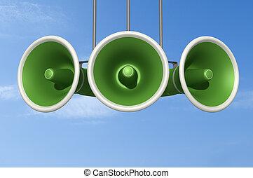 green announcement - three green megaphone against blue sky...