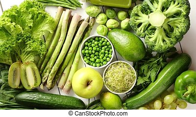 Green antioxidant organic vegetables, fruits and herbs