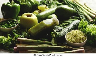 Green antioxidant organic vegetables, fruits and herbs -...