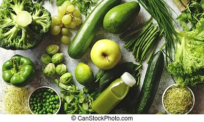 Green antioxidant organic vegetables, fruits and herbs...