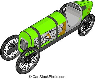 Green antique car, illustration, vector on white background.