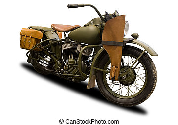 Green Antique Military Motorcycle Isolated on White
