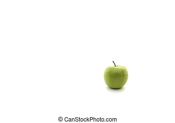 Green Apple - A small green apple isolated on a white...
