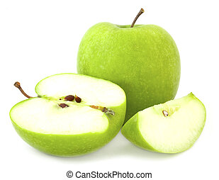 Green apple and cut segments