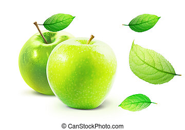 Green Apple and leafe isolated with clipping path - Green ...
