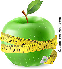 Green apple and measure tape