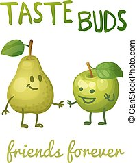 Green apple and pear with leaf characters. Cartoon vector illustration