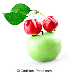 Green apple and two mini apples with leafs